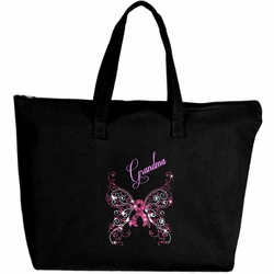 Rhinestone Breast Cancer Awareness Pink Butterfly And Ribbon Large Zipper Tote Bag