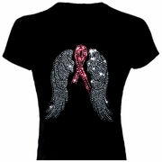 Rhinestone Breast Cancer Awareness Pink Ribbon And Wings Scoop Neck Women's Shirt