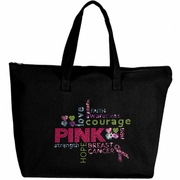 Rhinestone Breast Cancer Awareness Words Of Encouragement Large Zipper Tote Bag