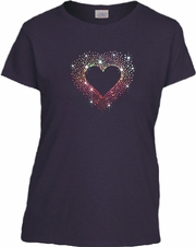 Rhinestone Colorburst Heart Scoop Neck Women's Shirt