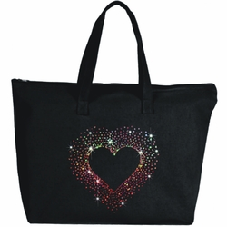 Rhinestone Colorburst Heart Large Zipper Tote Bag
