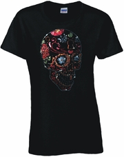 Rhinestone Day Of The Dead Keyholed Sugar Skull Scoop Neck Women's Shirt