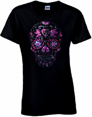 Rhinestone Day Of The Dead Pink Heart Sugar Skull Scoop Neck Women's Shirt