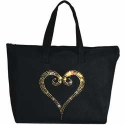 Rhinestone Gold Open Heart Large Zipper Tote Bag