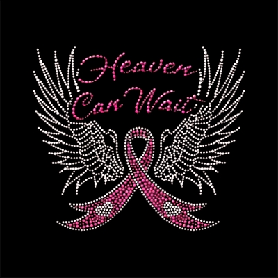Rhinestud Heaven Can Wait Breast Cancer Awareness Wings Large Zipper Tote Bag