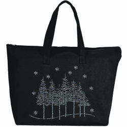 Rhinestone Holiday Snowflakes And Trees Large Zipper Tote Bag