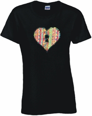 Rhinestone Key To My Heart Scoop Neck Women's Shirt