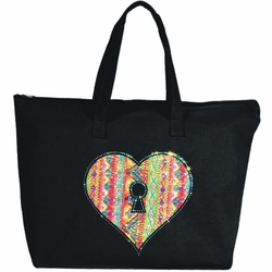 Rhinestone Key To My Heart Large Zipper Tote Bag