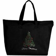 Rhinestone Merry Curly Christmas Tree Large Zipper Tote Bag