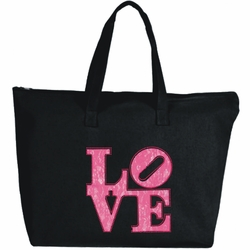 Rhinestone Neon Pink Love Large Zipper Tote Bag