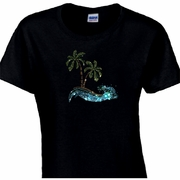 Rhinestone Palm Trees With Aquamarine Wave Scoop Neck Women's Shirt