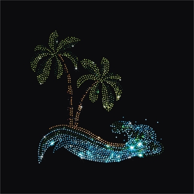 Rhinestone Palm Trees With Aquamarine Wave Large Zipper Tote Bag