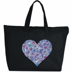 Rhinestone Pastel Butterfly Heart Large Zipper Tote Bag