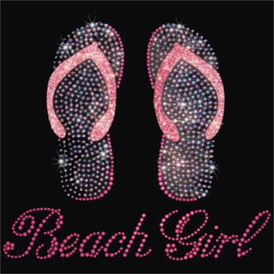 Rhinestone Pink Beach Girl Flip Flops Large Zipper Tote Bag