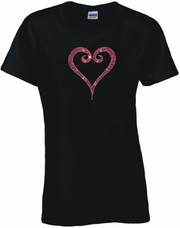 Rhinestone Pink Open Heart Scoop Neck Women's Shirt