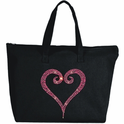Rhinestone Pink Open Heart Large Zipper Tote Bag