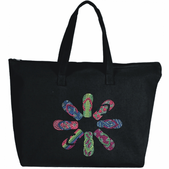Rhinestone Ring Of Flip Flops Large Zipper Tote Bag