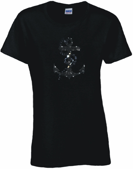 Rhinestone Silver Anchor With Blue Rope Scoop Neck Women's Shirt