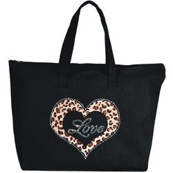 Rhinestone Silver Framed Leopard Heart Large Zipper Tote Bag