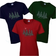 Christmas Women�s T-Shirt/Rhinestone Bling Christmas Tree Shirt/Winter Tree Forest With Snow Covered Branches/Christmas Snow Forest