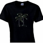 Rhinestone Sparkling Palm Trees Scoop Neck Women's Shirt