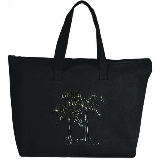 Rhinestone Sparkling Palm Trees Large Zipper Tote Bag