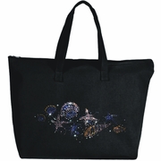 Rhinestone Sparkling Treasure Of Seashells Large Zipper Tote Bag