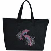 Rhinestone Splashing Pink Dolphins Large Zipper Tote Bag