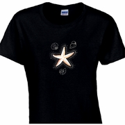 Rhinestone Starfish And Seashells Scoop Neck Women's Shirt