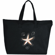 Rhinestone Starfish And Seashells Large Zipper Tote Bag