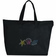 Rhinestone Studded Beach Seashells Large Zipper Tote Bag