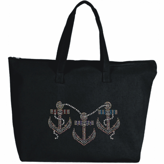 Rhinestone Three Nautical Anchors Large Zipper Tote Bag