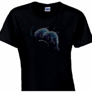 Rhinestone Whimsical Blue Dolphins Scoop Neck Women's Shirt