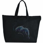 Rhinestone Whimsical Blue Dolphins Large Zipper Tote Bag