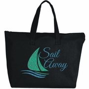 Sail Away Glitter Nautical Sail Boat Large Zipper Tote Bag