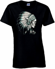 Skull With Turquoise Accented Indian Headdress Scoop Neck Women's Shirt