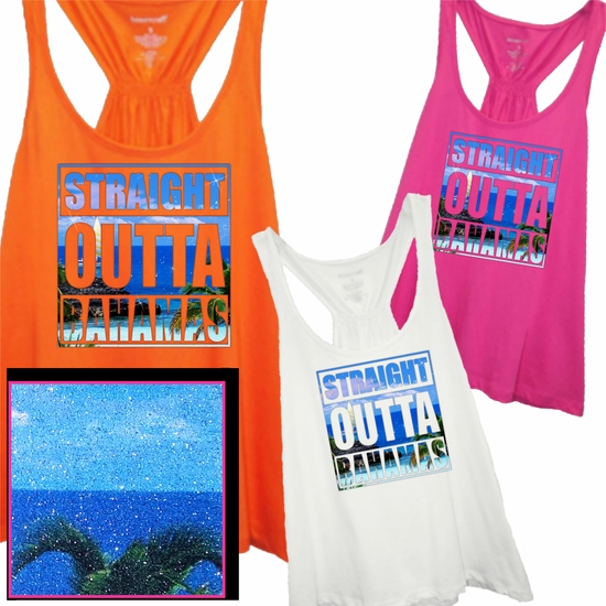 Straight Outta Bahamas Tropical Photo With Subtle, Sugary Glitter Women's Flare Tank