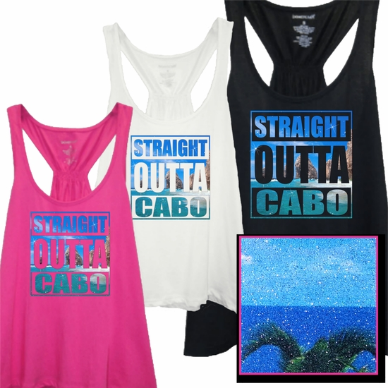 Straight Outta Cabo Tropical Photo With Subtle, Sugary Glitter Women's Flare Tank
