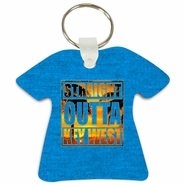 Straight Outta Key West Tropical Beach T-Shirt Shaped Aluminum Key Tag/Keychain/Key Charm