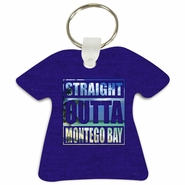 Straight Outta Montego Bay Tropical Beach T-Shirt Shaped Aluminum Key Tag/Keychain/Key Charm