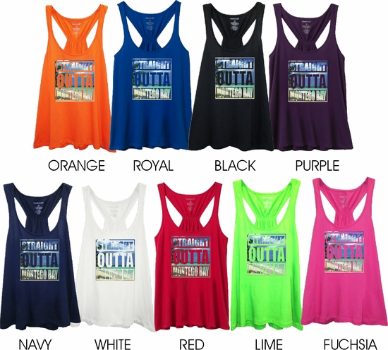 Straight Outta Montego Bay Tropical Photo With Subtle, Sugary Glitter Women's Flare Tank