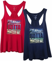 Straight Outta Montego Bay Tropical Photo With Subtle, Sugary Glitter Women�s Flare Tank