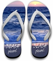 Sunset Beach Flip Flops/Beach Please Flip Flops/Summer Beach Sandals/Beach Vacation Flip Flops