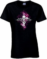 Tattoo Art Filigree Illustration With Skull And Playing Cards Scoop Neck Women's Shirt