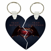 Team Batman And Team Superman Split Heart Aluminum Key Tag/Keychain/Key Charm