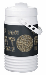 The More You Sweat In Practice Leopard Print Volleyball Igloo Half Gallon Beverage Cooler