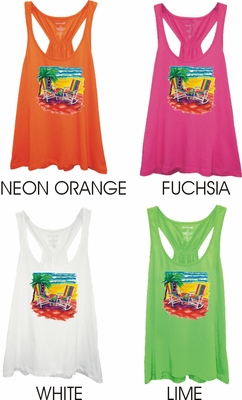 Tropical Beach Chairs Women's Racer Back Flare Tank