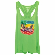 Tropical Beach Chairs Women�s Racer Back Flare Tank