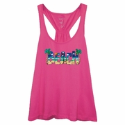 Tropical Beach With Palm Trees Women�s Racer back Flare Tank