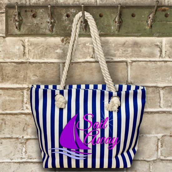 Tropical/ Nautical/ Beach/Lake Sailing Rope Tote Bag/ Large Boat Bag With Rope Handles/ Striped Sailboat Bag With Nautical Rope Handles